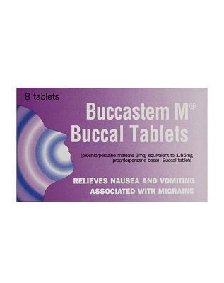#Buccastem M - 8 tablets 10086568 #24 Advantage card points. Relieves nausea and vomiting associated with migraine.See details below, always read the label FREE Delivery on orders over 45 GBP. (Barcode EAN=5000158064676)
