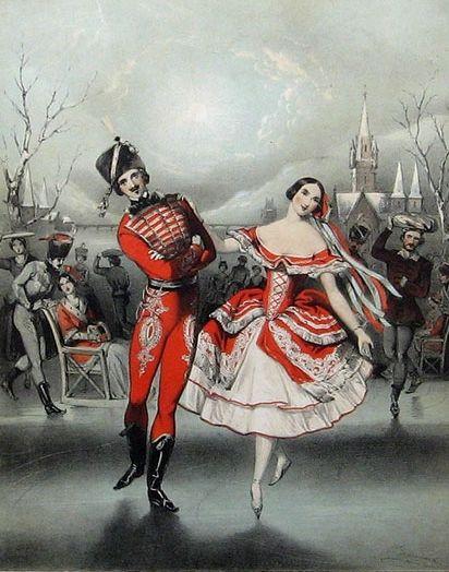 1849. Carolina Rosati in Les Patineurs. Lithograph by J. Branard.
