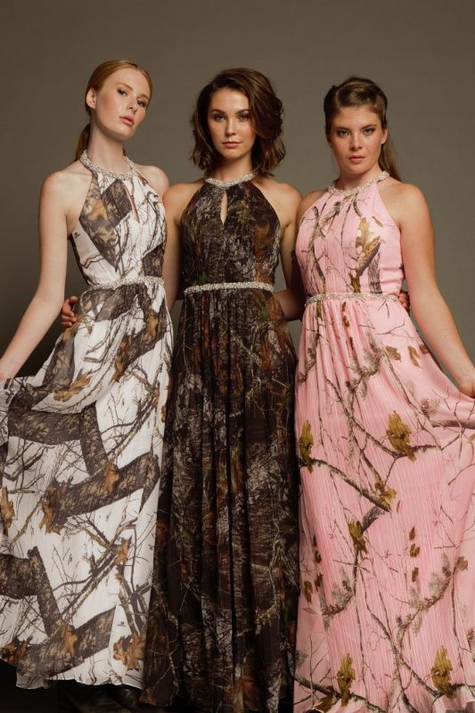 #Carrafina Camo Prom and Special Occasion Dresses. LICENSED #MossyOak and #RealTree AP! These dresses are chiffon so they're very feminine and flowy! Halter cut neckline with small keyhole in the front.  Tight accordion pleating down the front adds texture and detail. Beaded neck and waistline! #camopromdress #camoweddingdress #camobridesmaid