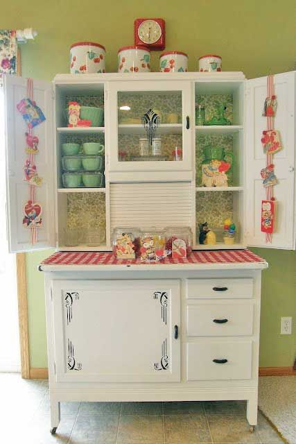 white vintage kitchen hutch, red gingham,
