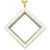 GOLD TONE DIAMOND LOCKET WITH WHITE ENAMEL www.mycharminglockets.ca #SHD #southhilldesigns @byjanehedges