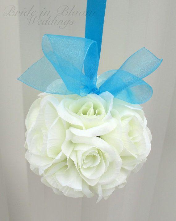Wedding flower balls pomander White turquoise Wedding decorations Ceremony Aisle pew markers on Etsy, $18.00