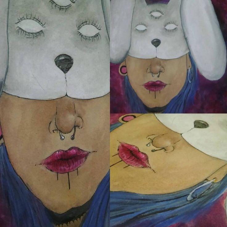 """"""" Y abrimos heridas, de esas de las que estan escondidas, esas que evitamos y tapamos, pero se abren, se muestran dejandolas latentes...esperando olvidarlas al caer la noche.  Volvemos a recordar lo frágil que somos ante esos abrazos montados..."""" - Escondiendo miradas perdidas.  #ilustracion #ilustration  #acuarela #acrilicos #septum #conejx  #dibujo #mascara http://ameritrustshield.com/ipost/1553372389727253045/?code=BWOr_VVl7I1"""