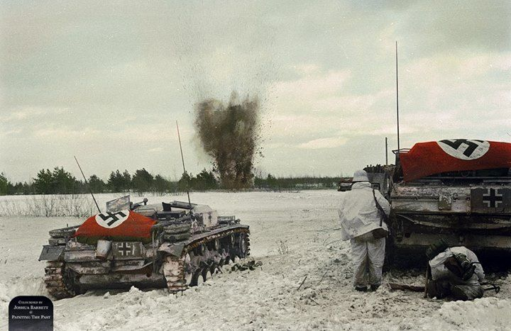 StuG III Ausf. E assault guns advance on Soviet positions while laying down high explosive fire support. Friendly infantry advance closely behind using the StuGs as mobile cover. Somewhere on the Eastern Front, 1941~1942.