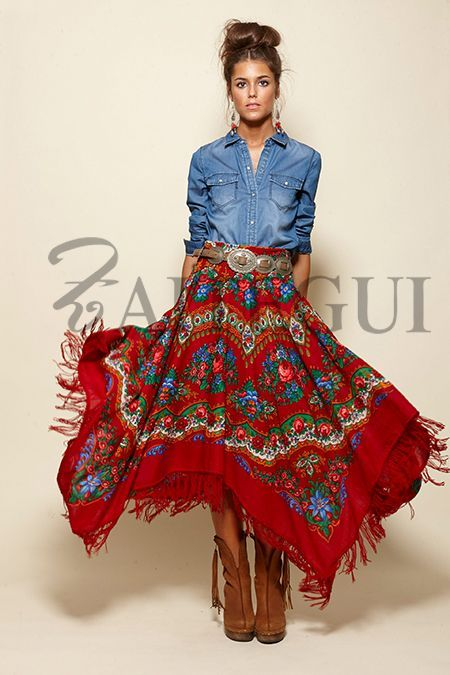 I like the whole look, but the skirt makes the outfit.  It is very eye catching.