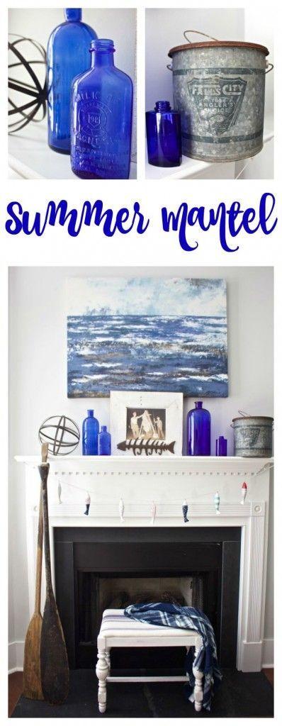 Love blue and white :) Summer Vintage Mantel Decor.