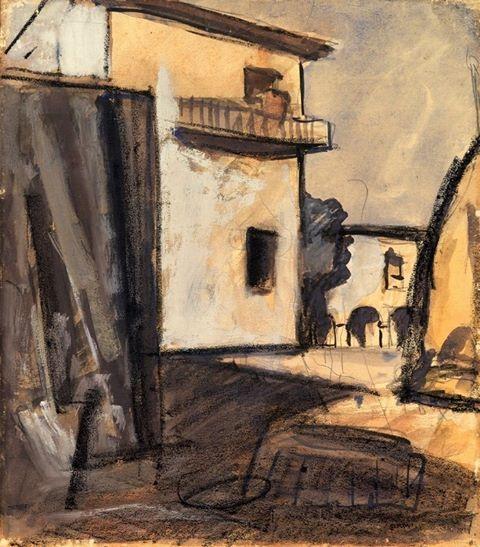Mario Sironi - Paesaggio con case