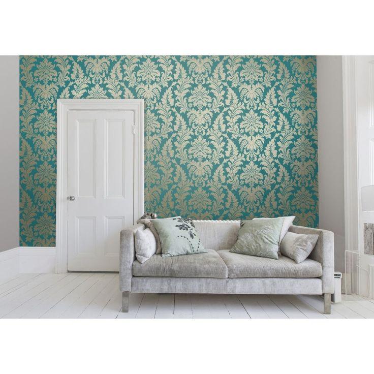 I Love Wallpaper™ Shimmer Metallic Grande Damask Wallpaper Rich Teal / Gold (ILW261522) - Wallpaper from I love wallpaper UK