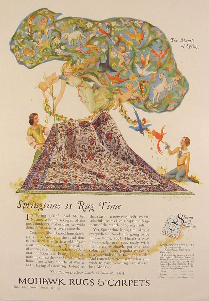 "1929 Willy Pogany Art ""The Mantle of Spring"" Mohawk Rugs & Carpets Ad Cherubs"