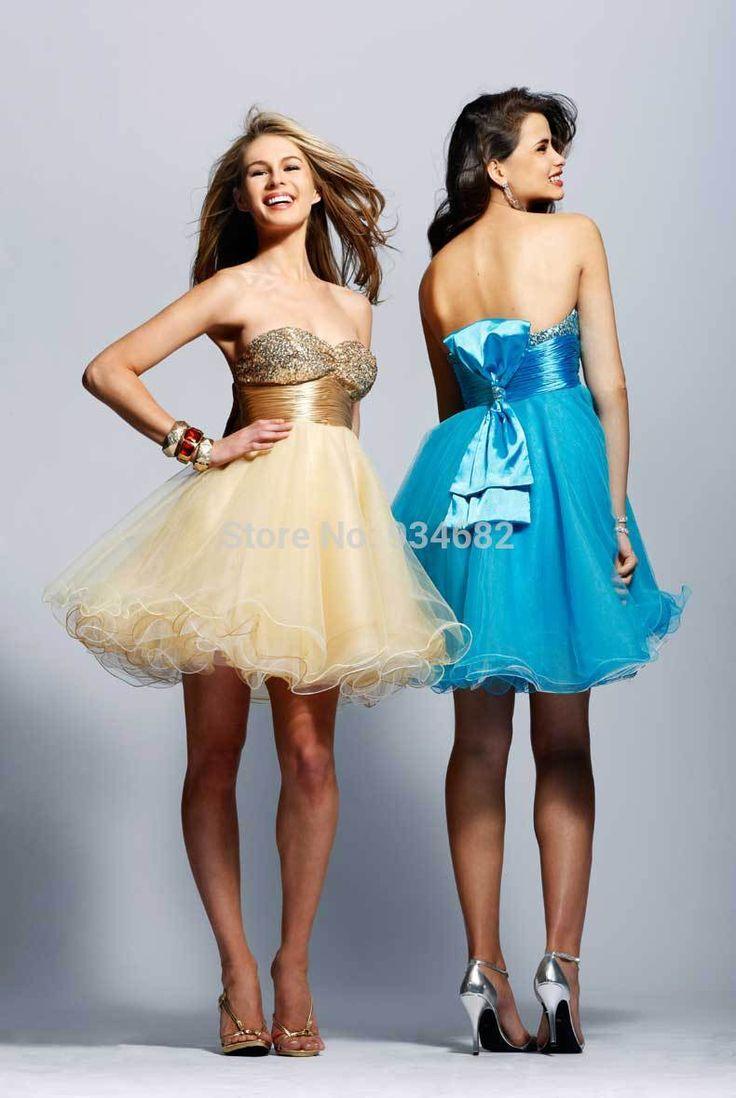 Дешевое Высокое качество блестящие кристалл милая короткие платья выпускного вечера бальное платье мини платья выпускного вечера 2015 новое поступление ну вечеринку платья vestido, Купить Качество Выпускные платья непосредственно из китайских фирмах-поставщиках: