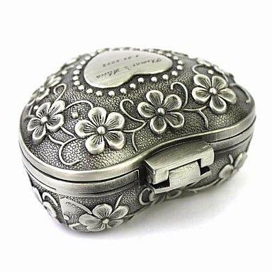 gepersonaliseerde elegante hartvormige decoratief patroon tinlegering vrouwen sieraden doos – EUR € 6.64