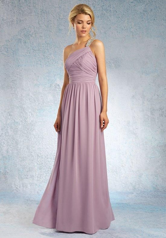 Long bridesmaid gown with an asymmetric ruched natural waist bodice and a crystallized shoulder strap | Sapphire Bridesmaids by Alfred Angelo | https://www.theknot.com/fashion/8101l-alfred-angelo-sapphire-bridesmaids-bridesmaid-dress