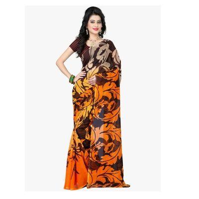 Good looking Orange, Black Georgette Designer Sarees