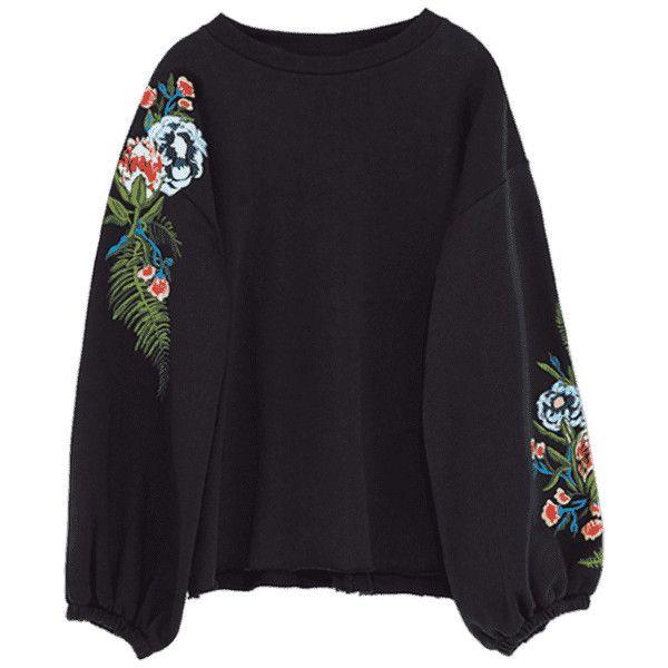 Drop Shoulder Embroidery Sweatshirt (138185 PYG) ❤ liked on Polyvore featuring tops, hoodies, sweatshirts, drop-shoulder tops, embroidered hoodie, hoodie sweatshirts, drop shoulder hoodie and hoodies sweatshirts