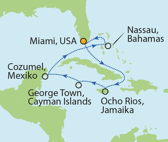 Karibikkreuzfahrt zum Hammerpreis von € 1.177 inklusive Flüge! - USA, Bahamas, Jamaika & Mexiko!