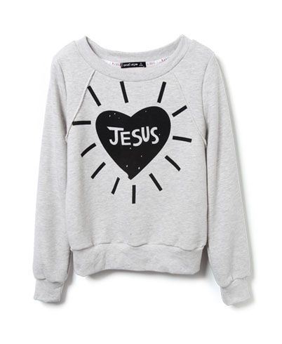 Heart Print Sweatshirt in Colorblack and white christian
