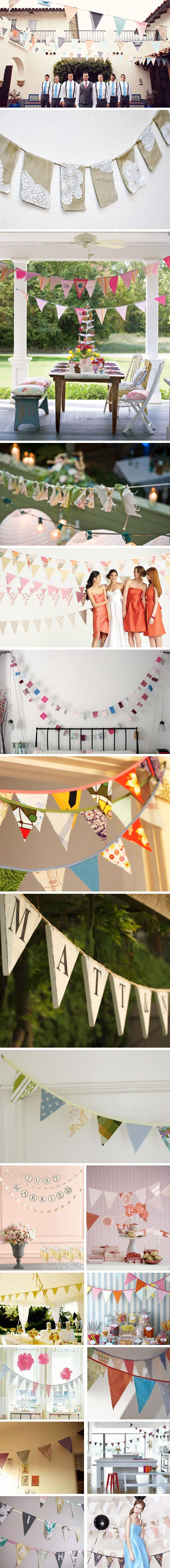 DIY: Shabby Chic banners! Weddings, school function, BD parties whatever your event this is hip! These whole fabric and paper flag banner things have become such a trend lately - I figured it was time to finally do a post on them. Here are some of my faves. I love this shabby chic style that can be customized for any event :) I am just wondering...is it overdone? Is it a trend that will die out?