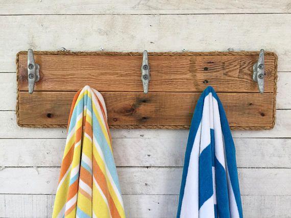 Reclaimed Wood Wall Art Bathroom Towel Rack Dog Leash