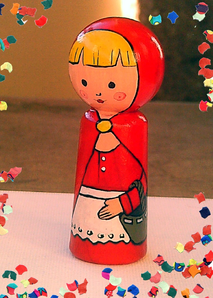 """fingerpuppet """"little red riding hood""""    http://fiaba.de/fingerpuppe-aus-holz-rotkappchen/"""