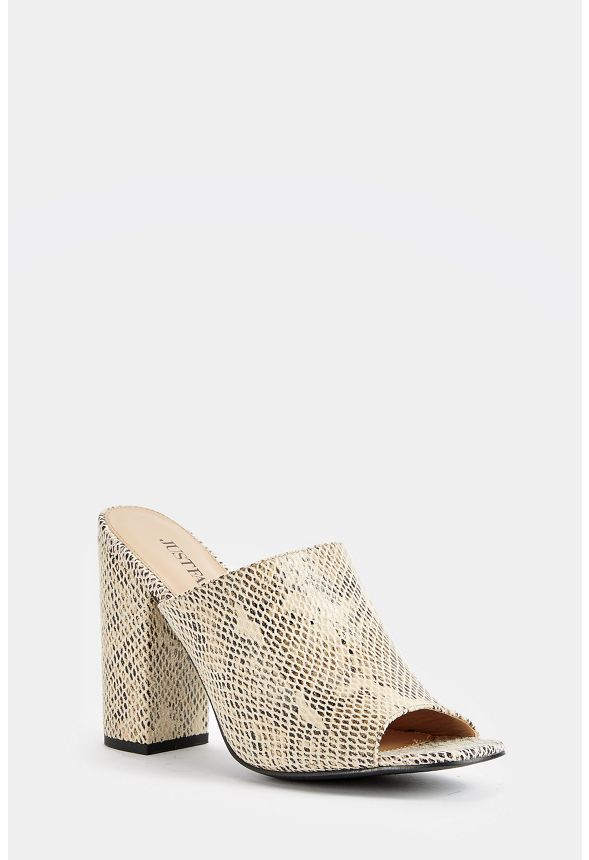 92b63e97a Nyssa Heeled Mule in Snake - Get great deals at JustFab