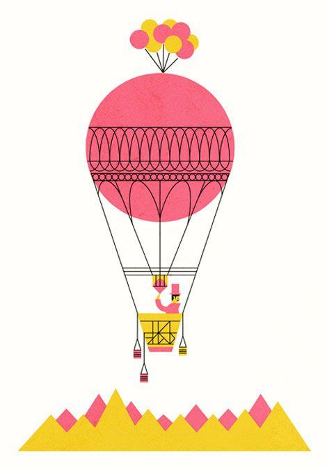 Hot air balloon.: Hotair, Color, Air Balloon Riding, Illustration, Prints, Hot Air Balloons, Edward Mcgowan, Girls Rooms, Parko Polo