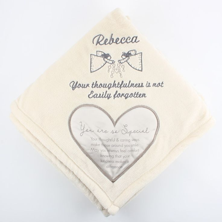 "Someone Special Royal Plush Blanket  50x60 - The most comforting gift in the world is your love and this royal plush blanket will remind them of your love and appreciation even when you aren't with them. Recognize someone special with this personalized gift. Our embroidery specialists will add a design and message to make it a one of a kind treasure.  Message inside the heart reads ""You are so Special. Your thoughtful & caring ways make those around you smile. May you always feel comfort…"