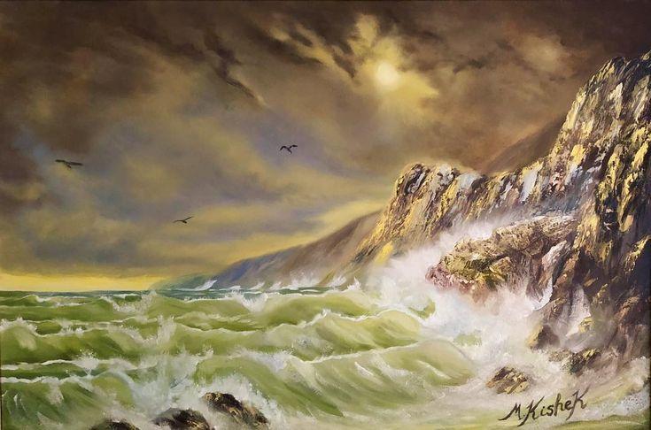 "(c) Stormy Sea by M. Kishek. 24""x36"" oil on canvas.  #Sea #shore #seashore #coastline #coastalscene #Waves #wave #seascape #seagulls #cloud #oil #oils #art #arts #painting ""brush #oilcolours #cloud #artists #skyscapes #sky #skies #pleinair #crashingwave #rock #rocks #bluffs #cliff #seascapelovers #fineart #oilpaint #oceanart"