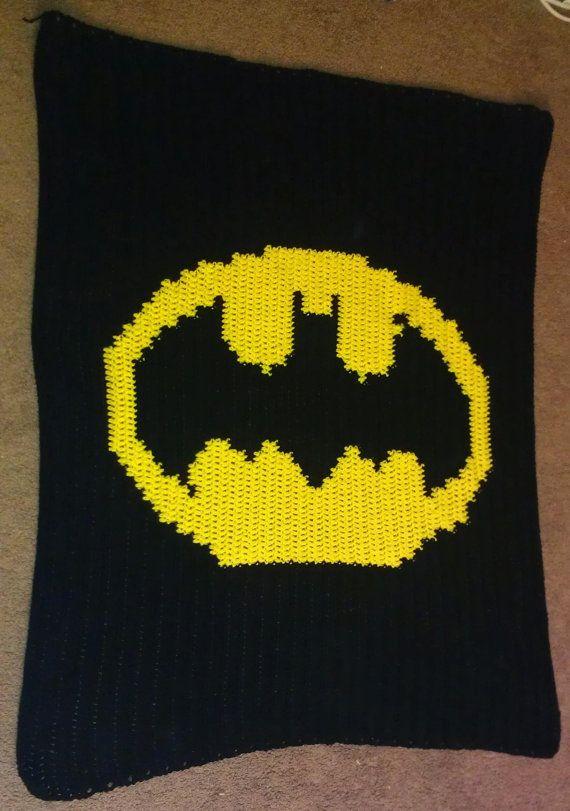 Patrón de ganchillo manta de Batman por KerasCrochetCreation