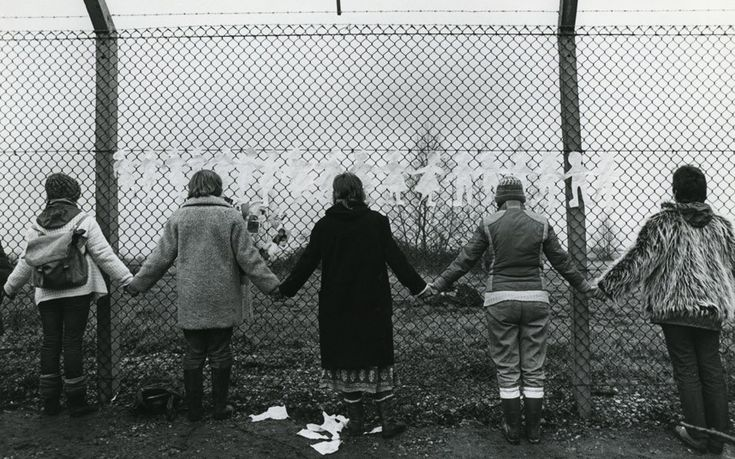 982, mass action by 1500 women to link arms and encircle the USAF air base at Greenham Common
