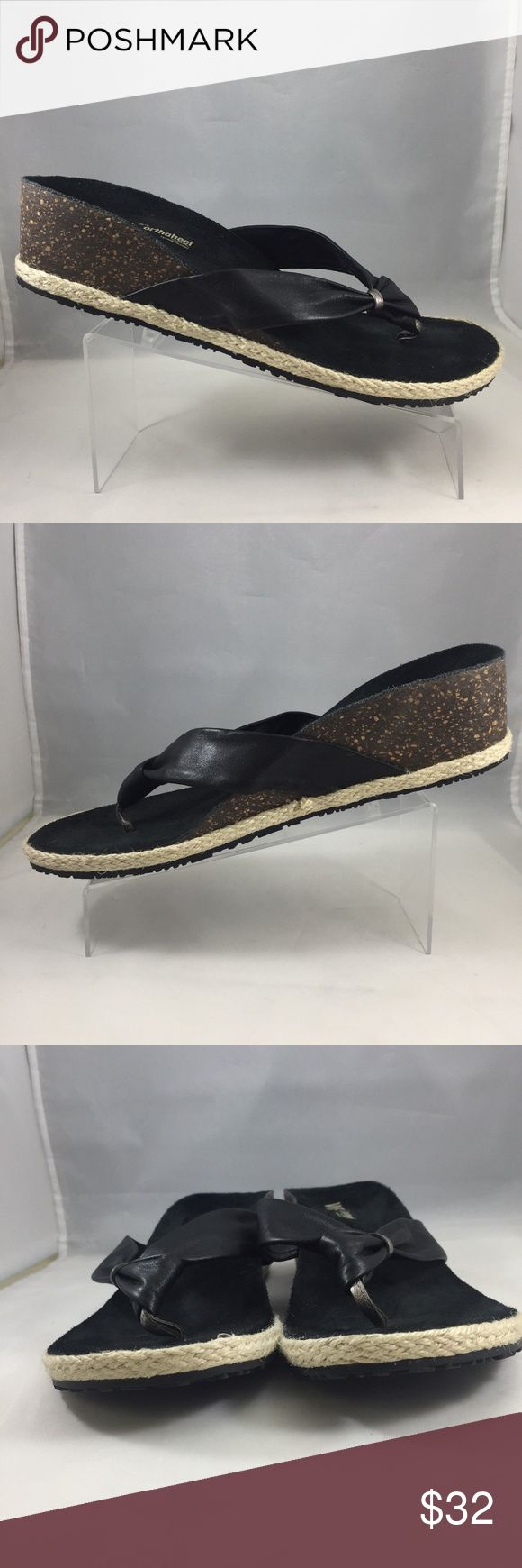 Dr Andrew Weil Orthaheel CALM Black Leathr Sandals Dr Andrew Weil Orthaheel CALM Black Leather Thong Sandals  Sz 9B  Retail $120 Nice pre-owned condition. Normal wear.  Please see pics  GL711080399105-SH350 Dr Andrew Weil Shoes Sandals