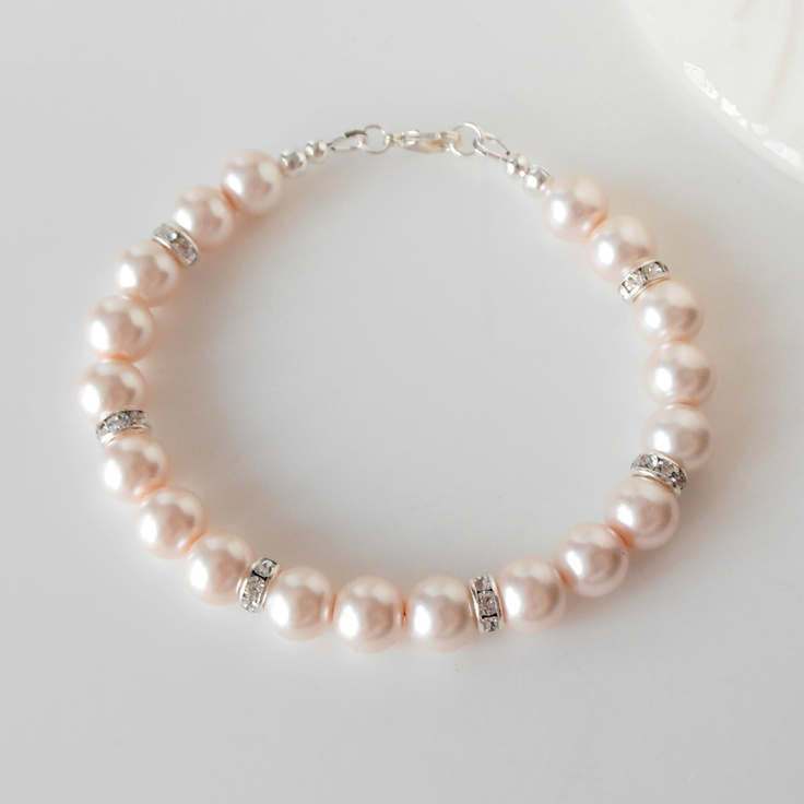 Bridesmaid Bracelets Wedding Jewelry Blush Pink Pearl Bracelets with Crystals in Silver Beaded Bracelets Bridesmaid Jewelry. $17.00, via Etsy.