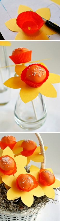 Daffodil Cake Pops Tutorial    http://thecakebar.tumblr.com/post/49814142805/daffodil-cake-pops-tutorial-you-can-use-your #mothers #day #teachers #day #diy #recipe #cake #balls
