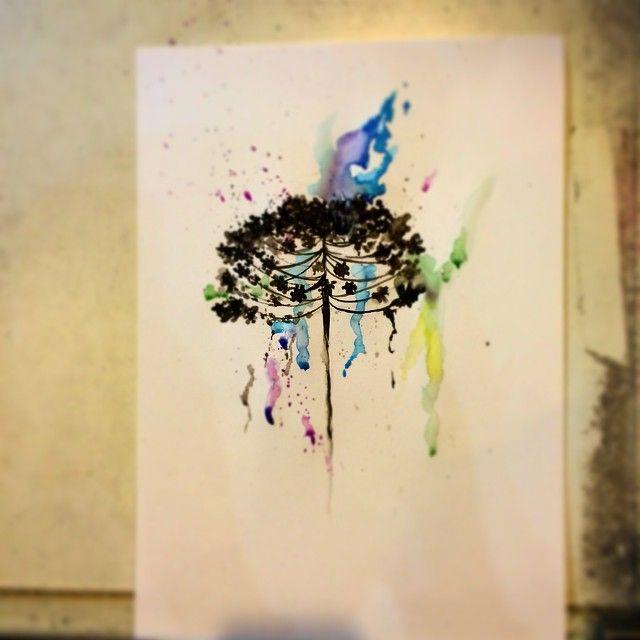 Projeto do Ale #araucária #arvore #natureza #watercolor #drawing #tattoo #tatuagem - biancakato