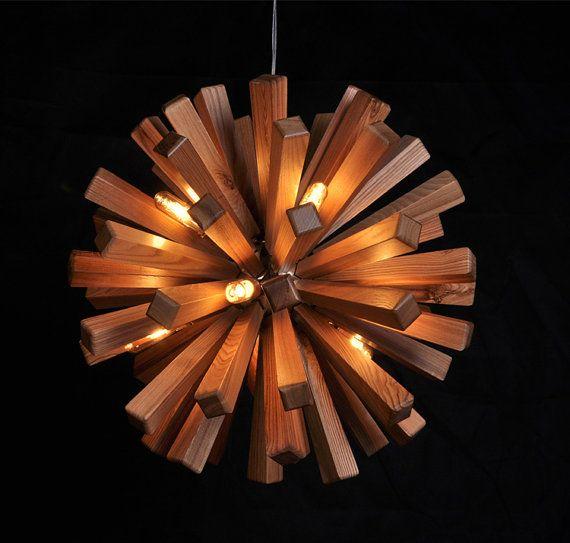 Holz-Deckenleuchte - Hängeleuchte Lampe - Deckenlampe - Holz Lampe - moderne Wohnkultur - Feuerwerk - einzigartig - Kunst