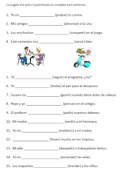 stem changing verbs free printable conjugation worksheet