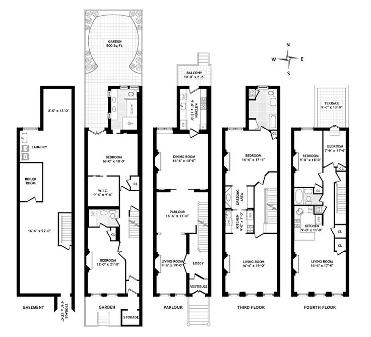 Brownstone floor plan elementary dream house 101 for Brownstone plans