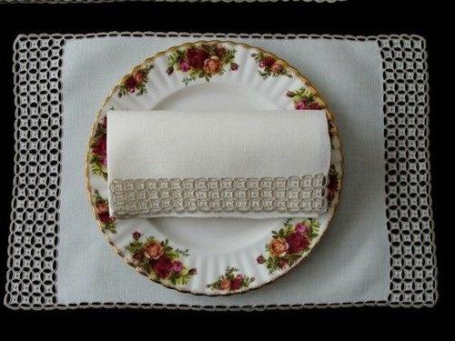 Vintage Marghab Linen Placemats Ponto Grega Madeira Pristine