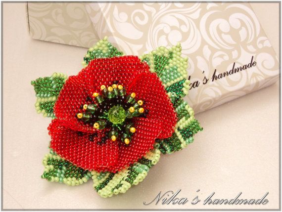 Beaded flower brooch in the form of a red poppy. Made in the technique of weaving a mosaic of beads. Fool size: 3 х 4 inches