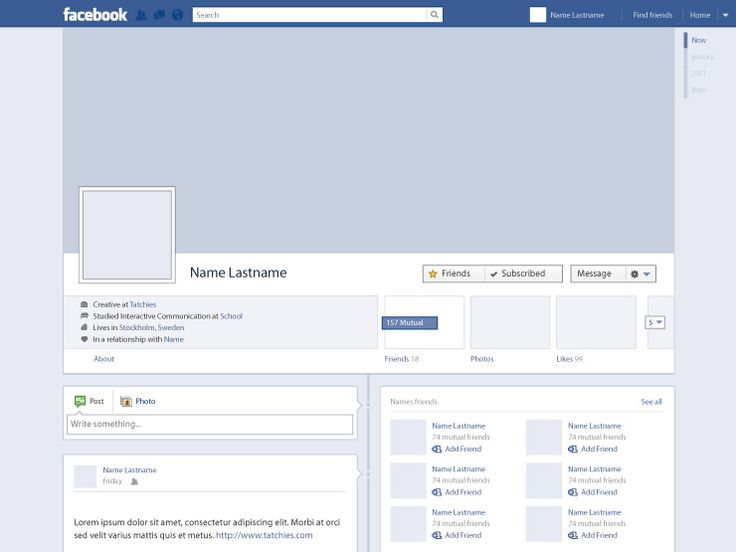 Free Vector Facebook Profile Timeline by Tatchies ... Facebook Page Timeline Example