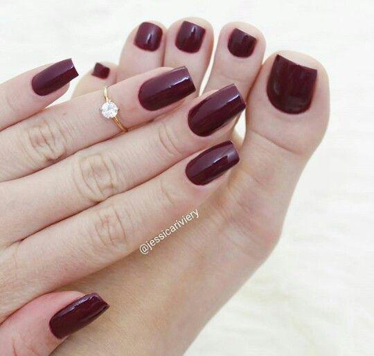Dark Red Manicure & Pedicure