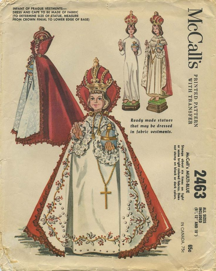 "Vintage Infant of Prague Vestments Sewing Pattern | McCall's 2463 | Year 1961 | Statue Sizes 9"", 12"" and 18"""