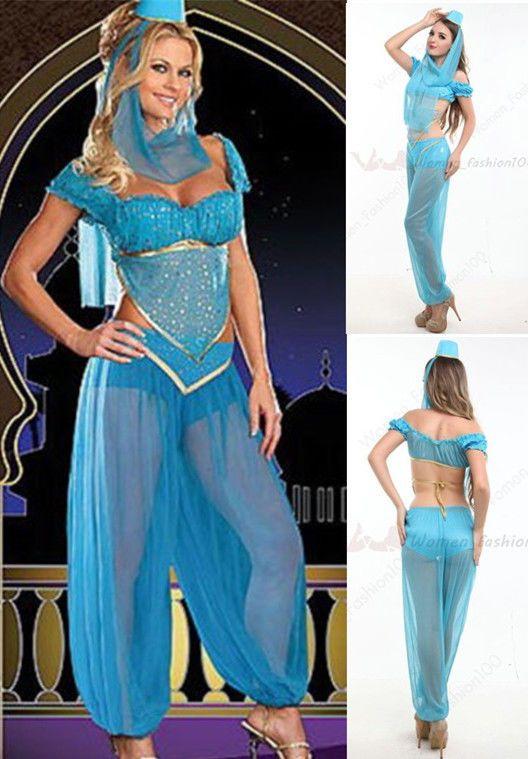 Womens Belly Dancer Fancy Dress Jasmine Aladdin Arabian Princess Costume S-2XL #Unbranded #CompleteCostume