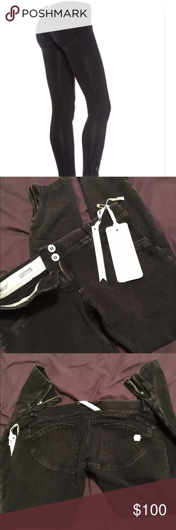 Freddy 7/8 black skinny jean Sz M These were way too small for me. I am a 4/6 with a muscular bottom and definitely these run small. They fit more like a 2/4 in my opinion. If you need more details please visit the Freddy store Freddy Jeans Ankle & Cropped