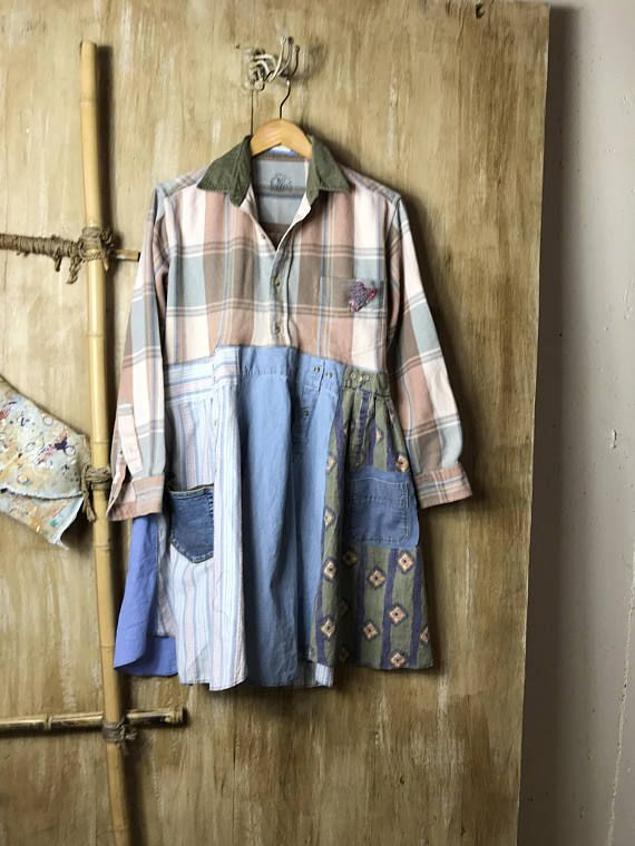 This item is so unique and fun piece is a one of a kind and so warm and comfy. The flannel top is so soft and really nice heavier weight. Has a corduroy collar and 3 pockets. All cotton and flannel on the bottom. This would be so awesome with jeans and boots, easy to wear. Lots of