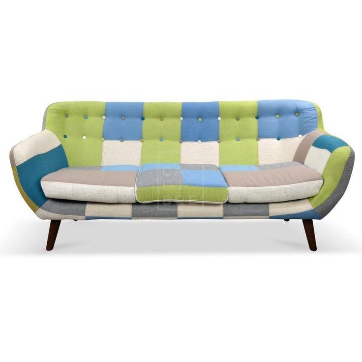 Oskar 3 Seater Multicolor Patch Work Sofa