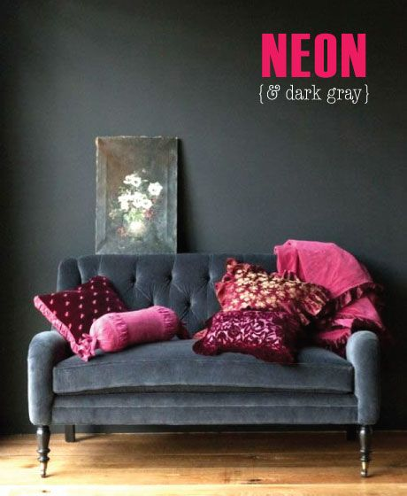 add interest to more sombre colours like grey with several tones of the same bright