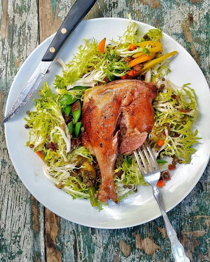 Terrine The new Tuesday Dinner Special! Duck Confit with a Warm Lentil, Frisee, Snap Peas and Carrot Salad topped with a Mustard Vinaigrette. #newchanges #dailyspecial #dinner