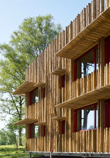 Hotel clad in timber strips from the nearby forest.