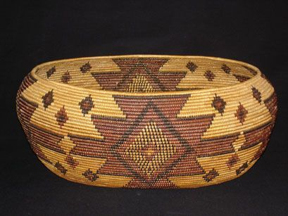 Maidu polychrome oval basket. The Maidu are an indigenous people to northern California residing in the central Sierra Nevada in the drainage of the Feather and American rivers and in the Humbug Valley.  The Maidu were excellent basket weavers who utilized a wide variety of roots, bark, plant stems and leaves such as fern roots, sedge roots, willow twigs, and redbud.