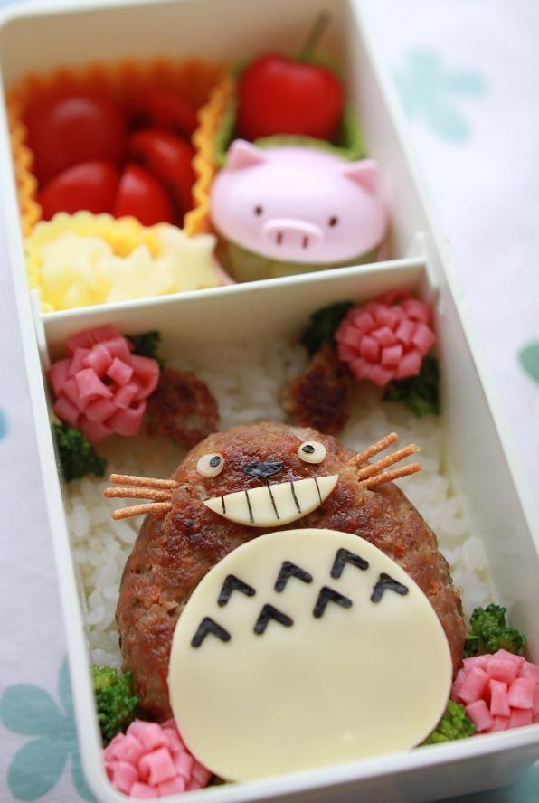 Cheese Hamburger Totoro Kyaraben Bento by kentomama